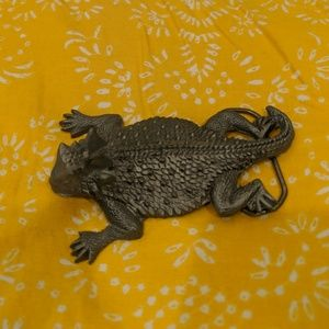 Texas Horny Toad Pewter Belt Buckle (Junk Gypsy)